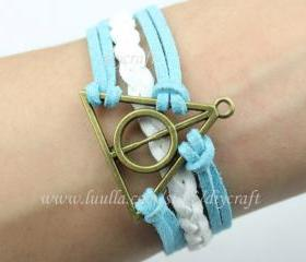 Antique bronze harry potter deathly hallows bracelet-leather woven bracelet men women bracelet