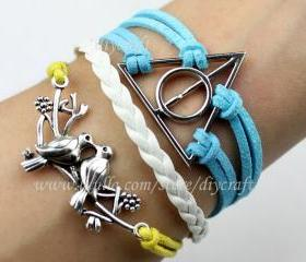 Harry potter bracelet-deathly hallows-loving birds bracelet-personalized jewelry