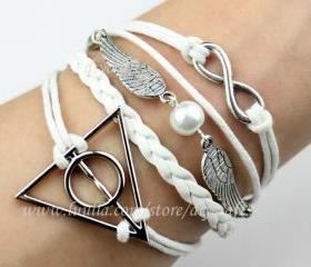 Harry potter deathly hallows-wings with pearl-infinity bracelet-personalized cute jewelry