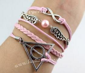 Harry potter bracelet, wing bracelet,infinity wish bracelet, pure manual weaving wax cord leather, beads for girl friends, boy friend